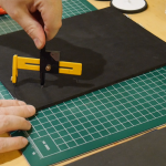 Using the circle cutter to cut the foam