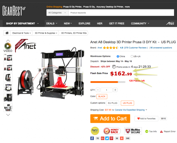 Anet A8 Desktop 3D Printer Prusa i3 DIY Kit-183.57 Online Shopping| GearBest.com