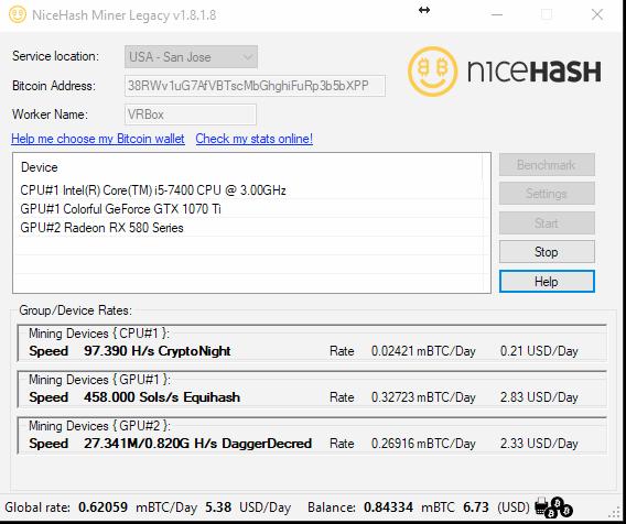 Nicehash UI
