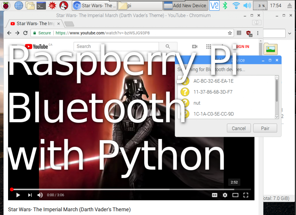 program bluetooth on raspberry pi with python