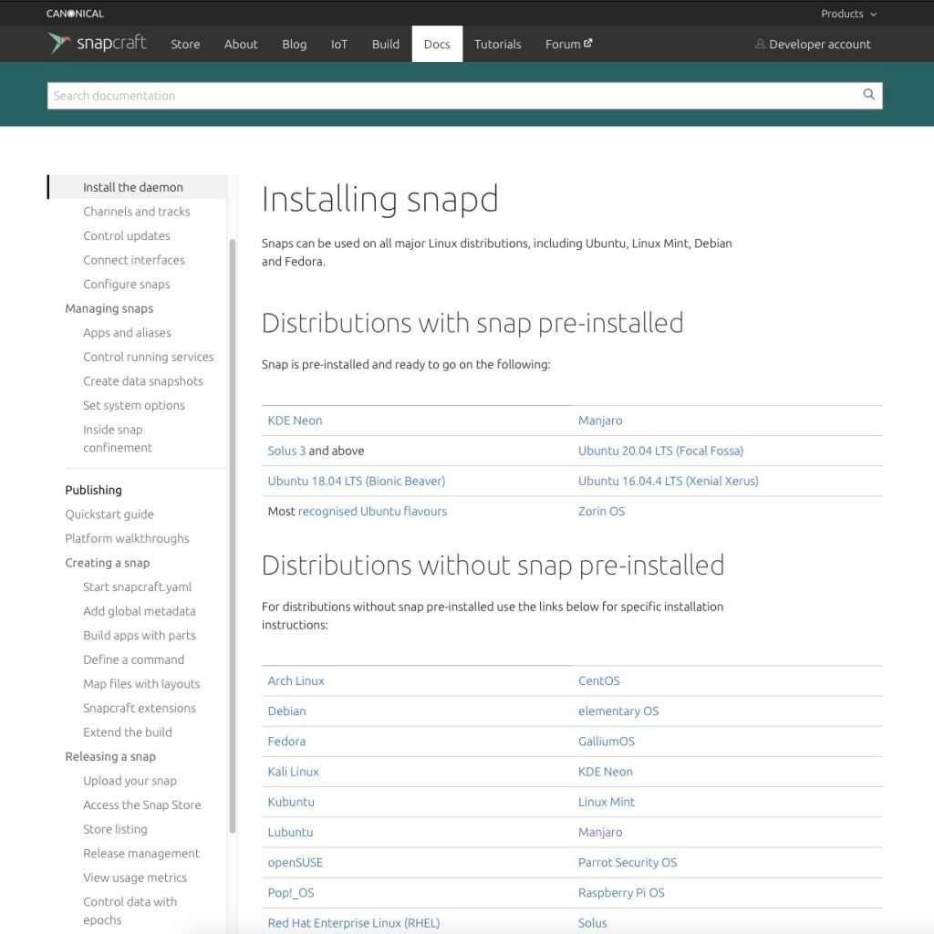 See if Snapd is already installed in your linux distro