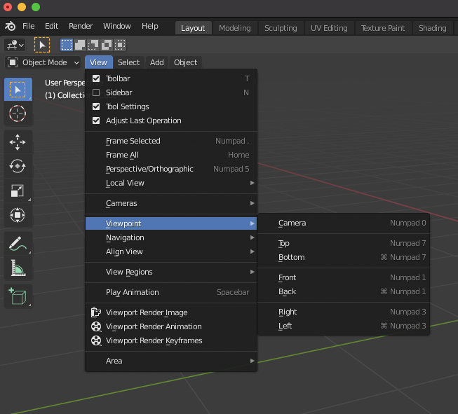 Blender allows you to quickly Select Views using the Numeric Keypad