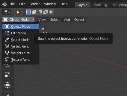 Select the Blender mode to see different options