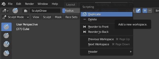 Deleting Blender Workspace Tabs